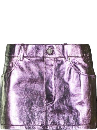 Saint Laurent 5 Pockets Shiny Short Skirt