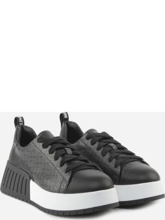 Ruco Line R-dj 393 Sneakers In Leather With All-over Logo Print