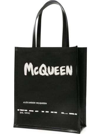 Alexander McQueen Jacquard Graffiti Logo Tote Bag