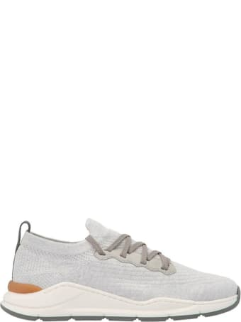 Brunello Cucinelli White And Grey Low-top Sneakers