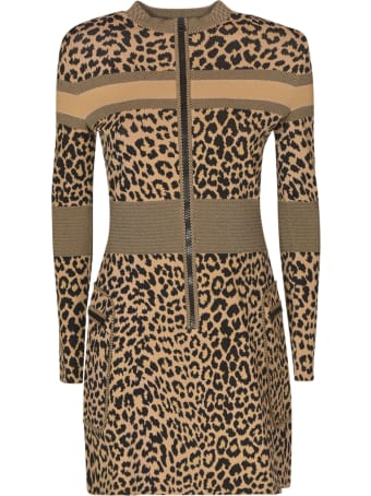 Christian Dior Back Logo Animal Print Dress
