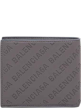 Balenciaga Bifold Grey Leather Wallet With Allover Logo