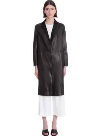 Salvatore Santoro Coat In Black Leather