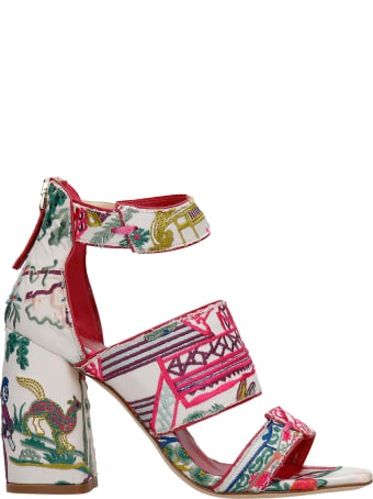 Bams Sandals In White Fabric