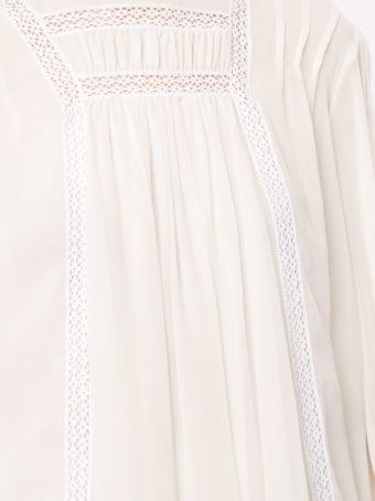 Giambattista Valli Ivory Silk Bouse With White Laces