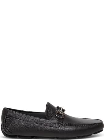 Salvatore Ferragamo Black Leather Loafers With Logo Buckle