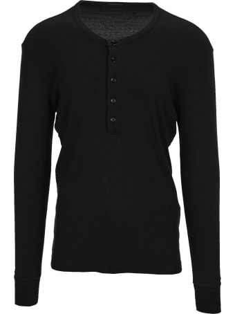 Tom Ford Cotton Blend Buttoned Round-neck Long Sleeves T-shirt