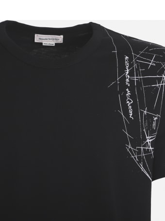 Alexander McQueen Cotton T-shirt With Contrasting Technical Print