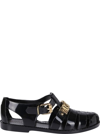 Moschino Black Rubber Sandals