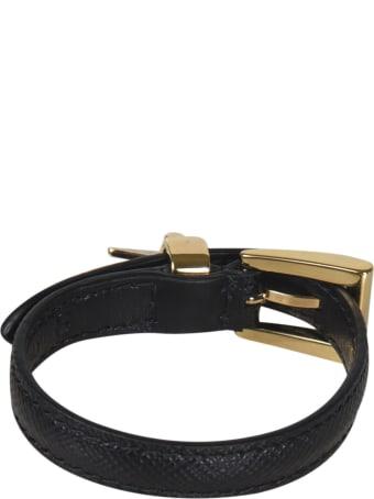 Prada Triangle Logo Buckled Bracelet