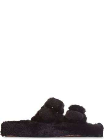 Colors of California Double Band Slipper In Faux Fur With Buckles