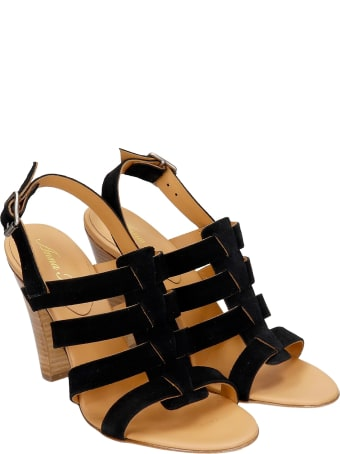 Anna F. Sandals In Black Suede