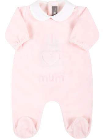 Little Bear Pink Babygrow For Baby Girl With Writing