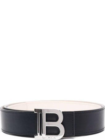 Balmain Leather Belt With Logo Buckle