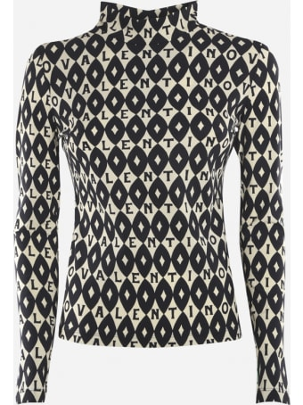 Valentino Jersey Top With Valentino Foulard Archive Print