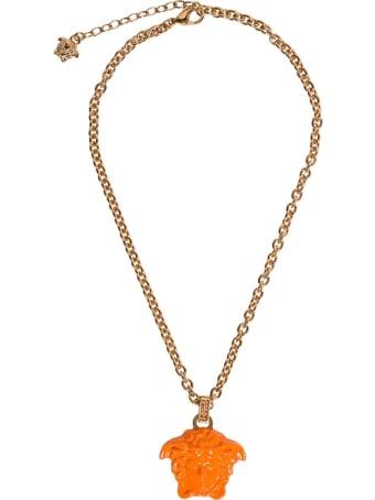 Versace Medusa Necklace In Painted Orange Metal