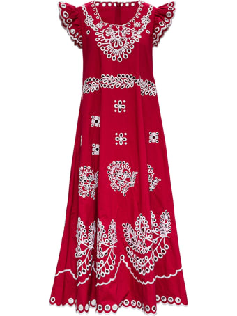 RED Valentino Red Embroidered Cotton Dress