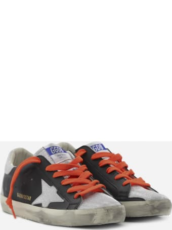 Golden Goose Superstar Sneakers In Leather With Glitter Heel Tab
