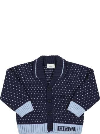 Fendi Blue Cardigan For Baby Boy With Doubles Ff