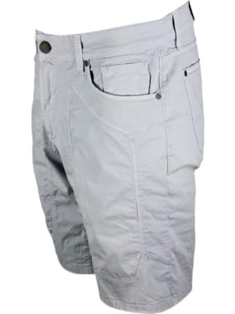 Jeckerson Bermuda A 5 Tasche Con Impuntura Toppa In Cotone Leggero
