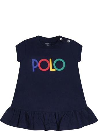 Ralph Lauren Blue Dress For Baby Girl With Logo