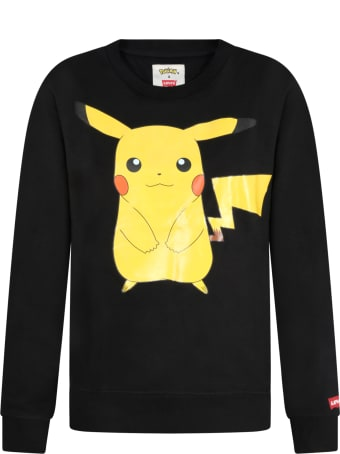 Levi's Black Sweatshirt For Kids With Logo And Pikachu