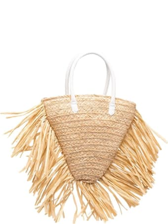 Il Gufo Handbag In Raffia And Leather With Fringes