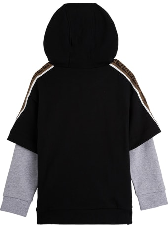 Fendi Bicolor Cotton Hoodie With Logo
