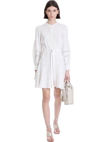 120% Lino Dress In White Cotton