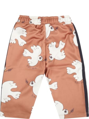 Mini Rodini Brown Trouser For Baby Girl With Doves