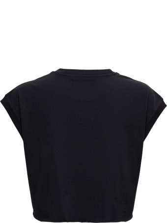 Dolce & Gabbana Black Cotton Cropt-shirt With Logo
