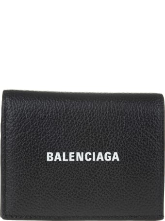 Balenciaga Black Folding Wallet In Textured Leather With Logo