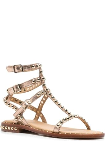 Ash Golden Leather Sandals With Studs