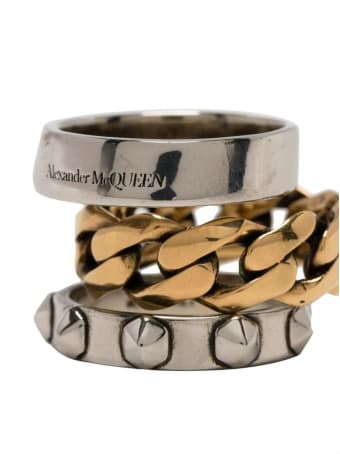 Alexander McQueen Punk Gold And Silver Colored Brass Ring