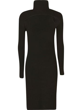 Les Hommes Long-sleeved Rib Knit Mini Dress