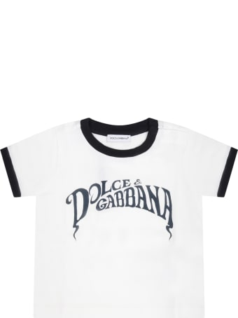 Dolce & Gabbana White T-shirt For Babyboy With Logo