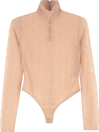 Fendi Embroidered Tulle Bodysuit