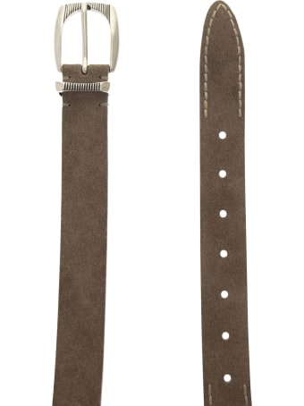 Brunello Cucinelli Reversed Leather Belt With Stitching And Detailed Buckle