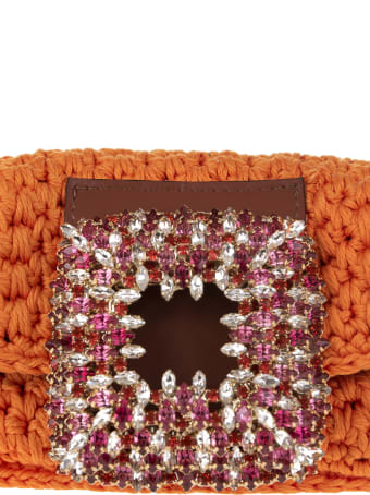 Gedebe Orange Small Mia Crochet Bag With Crystals