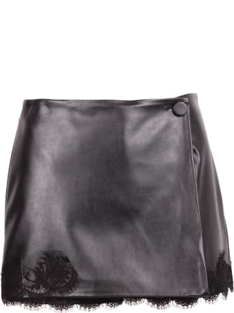 Ermanno Firenze Faux Leather Skirt With Lace Details