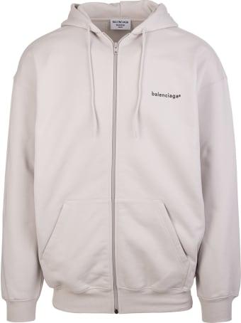"Balenciaga Unisex Light Grey And Black ""new Copyright"" Zipped Hoodie"