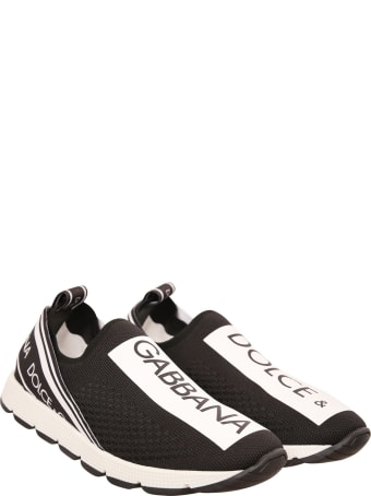 Dolce & Gabbana Black Sneaker With White And Black Logo