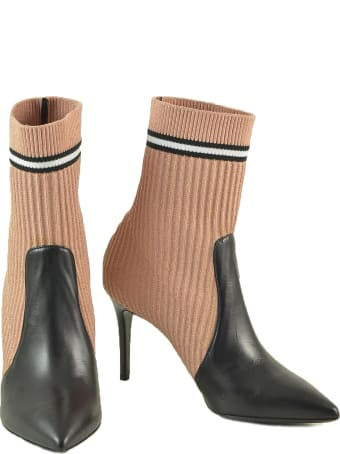 Paoloni Pink/black Leather And Fabric Sock Booties