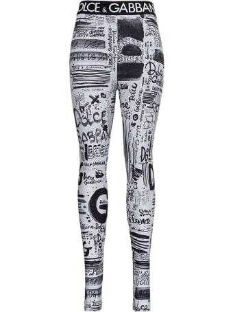 Dolce & Gabbana Graffiti Leggings With Logo Band