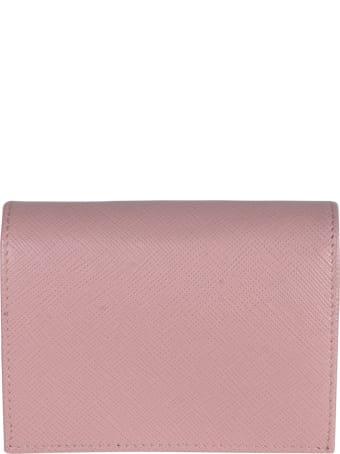 Prada Snap Button Logo Plaque Wallet