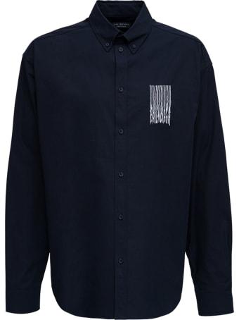 Balenciaga Black Oversize Cotton Shirt With Print