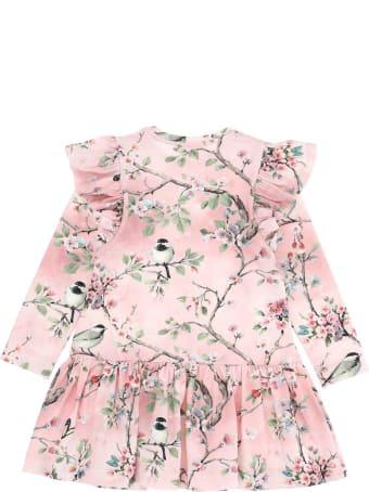 Monnalisa Pink Cotton Dress With Floral Print