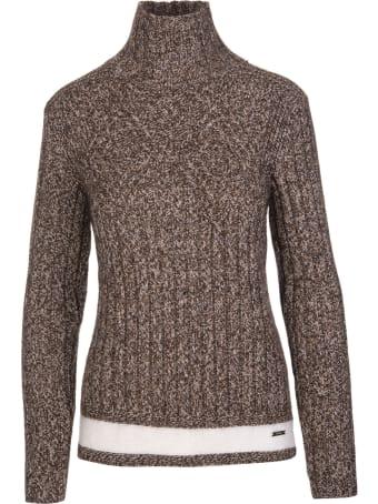 Kiton Woman Brown Melange High Neck Pullover