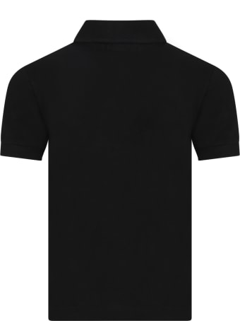 Ralph Lauren Black Polo Shirt For Kids With Pony Logo
