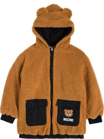 Moschino Brown Teddy Hoodie With Logo